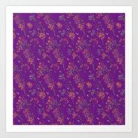 Poppy Floral - Purple Art Print