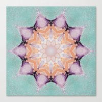 snowflake Canvas Prints featuring snowflake by patternization