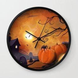 Halloween Cemetery Pumpkins Spiders and Bats Wall Clock