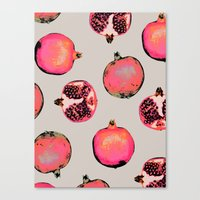 pattern Canvas Prints featuring Pomegranate Pattern by Georgiana Paraschiv