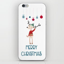 Christmas Reindeer in A Wool Hat and Ugly Sweater iPhone Skin