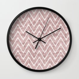 Palest Dusty Pink Zigzag Imitation Suede Chevron Wall Clock