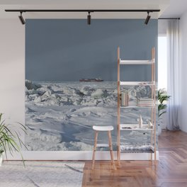 Freighter in the Ice Wall Mural