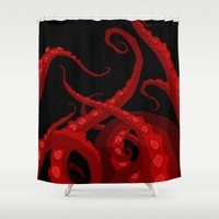 lovecraft Shower Curtains featuring Subterranean Red by Abigail Larson