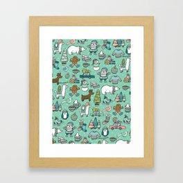 Christmas Time, Christmas Critter, Aqua Blue, Holly Jolly Holiday Pattern Framed Art Print