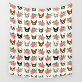 Boston Terrier florals cute terrier owner dog art pet portraits dog breeds boston terriers animal  Wall Tapestry