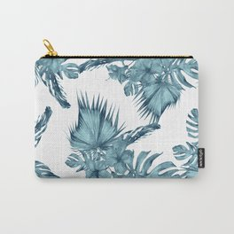 Tropical Palm Leaves Hibiscus Flowers Blue Carry-All Pouch