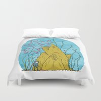 the life aquatic Duvet Covers featuring Our Life Aquatic by Hamburger Hands