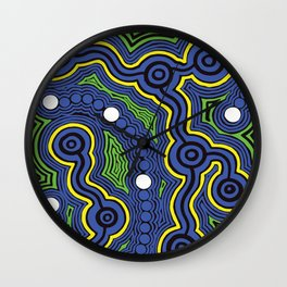 Authentic Aboriginal Art - Meeting Places Wall Clock