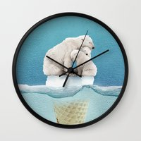 ice Wall Clocks featuring polar ice cream cap 02 by Vin Zzep