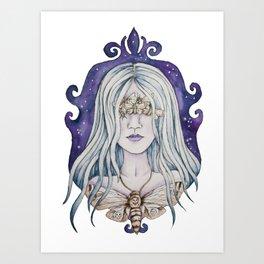 Gothic watercolor universe moth woman Art Print