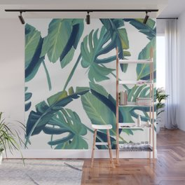 Palm Leaves on White Wall Mural