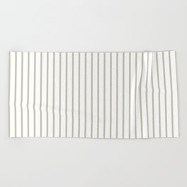 Silver Moss Pinstripe on White Beach Towel