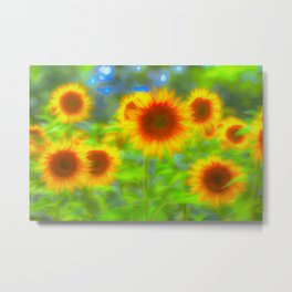 Sunflower Pastel Art Metal Print