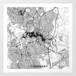 Canberra Map Gray Art Print