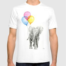 Baby Elephant with Balloons Nursery Animals Prints Whimsical Animal MEDIUM White Mens Fitted Tee