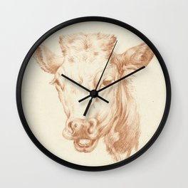 Vintage Cow Illustration Wall Clock