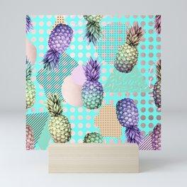 Pineapple Summer Rainbow Rose Gold Mini Art Print