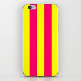 Bright Neon Pink and Yellow Vertical Cabana Tent Stripes iPhone Skin