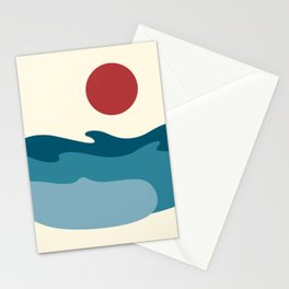 Sea Waves and Sun Stationery Cards