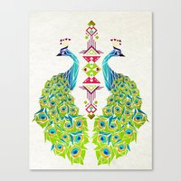 peacock Canvas Prints featuring peacock by Manoou