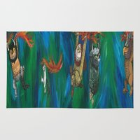 wild things Area & Throw Rugs featuring Wild Things Monsters by Always Add Color