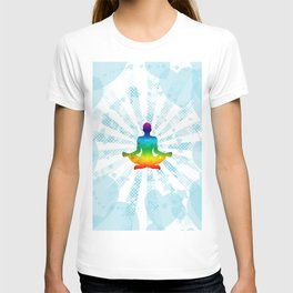 Pop art illustration of a man in yoga meditation with a rainbow inside on the background of hearts T-shirt