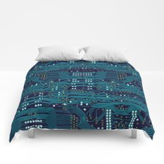 Dark Circuit Board Comforters