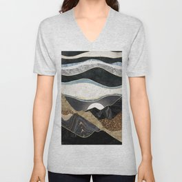 Desert Glow. Nature abstract art. Vintage illustration. Unisex V-Neck