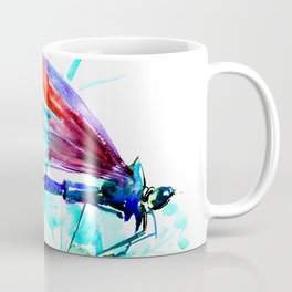 Dragonfly , Turquoise Bright Blue Red art Coffee Mug