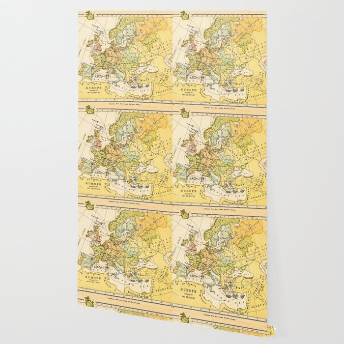 Europe During The 14th Century - Vintage Map Wallpaper