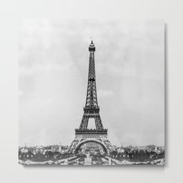 Eiffel tower in B&W with painterly effect Metal Print