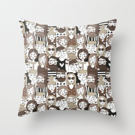 Crowd Pattern Throw Pillow