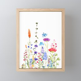 colorful wild flowers watercolor painting Framed Mini Art Print