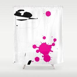 Magenta Abstract Rick Genest Shower Curtain
