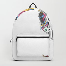 Unicorn Full Colour With Gold Horn Rainbow Hair Artwork Backpack