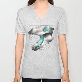 Blue Flame Wolf Skull Unisex V-Neck