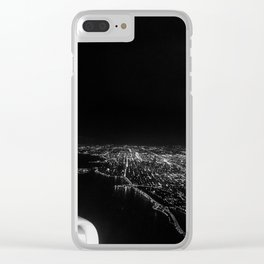 Chicago Skyline. Airplane. View From Plane. Chicago Nighttime. City Skyline. Jodilynpaintings Clear iPhone Case