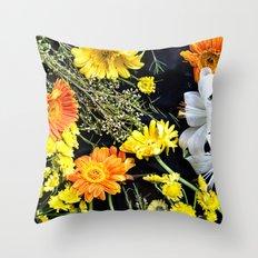 Fresh blooms on black Throw Pillow