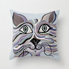Denim Cat Throw Pillow