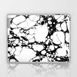Black and White bubbles Spilled Ink Marbled Paper Laptop & iPad Skin