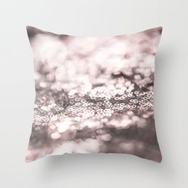 Shiny rose sparkling bokeh Throw Pillow