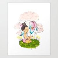 Top Knot & Unicorn (snowcone) Art Print