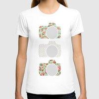 polka dot T-shirts featuring Floral & Polka Dot Cameras by Allyson Johnson