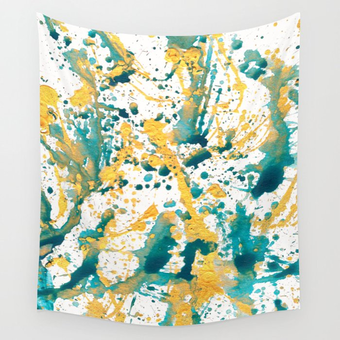 Teal and Gold Splatter Paint  Wall Tapestry
