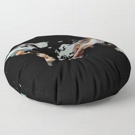 World Map Silhouette - The Creation of Adam Floor Pillow
