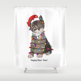 Cute cat with Santa Claus hat and light bulb Shower Curtain
