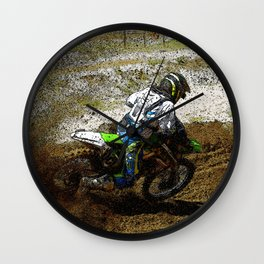 Round the Bend - Dirt Bike Racing Wall Clock
