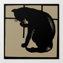 Black cat modern woodcut style Canvas Print