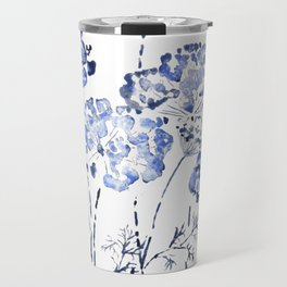 abstract Queen Anne's Lace flower in blue Travel Mug